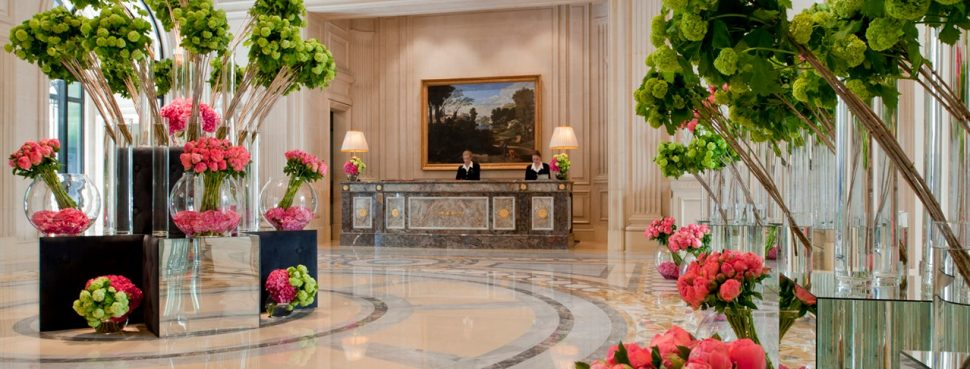 floral art installation at Four Seasons Hotel George V Paris