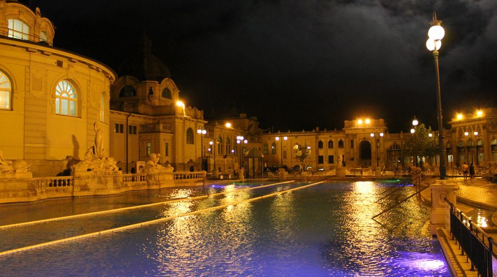 Thermal baths at night in Budapest
