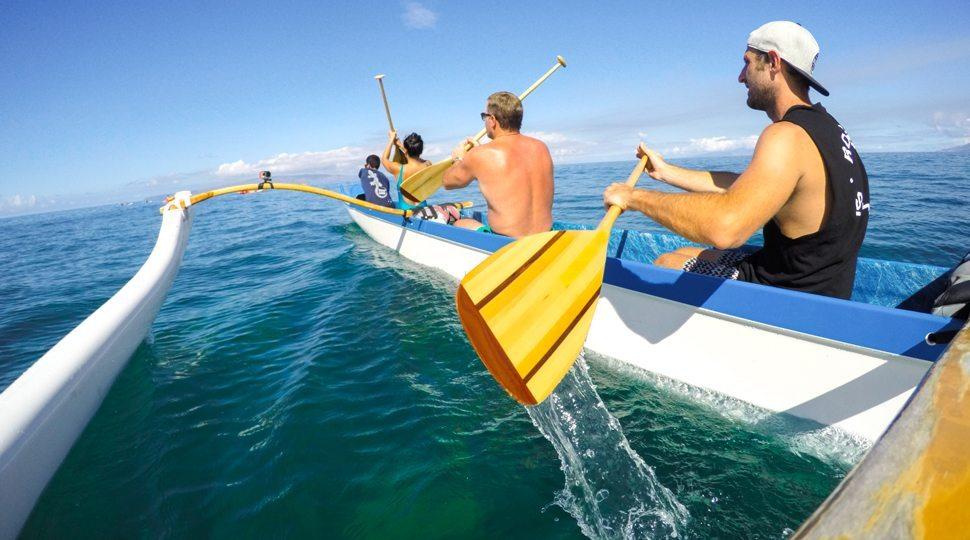 Three men in a canoe