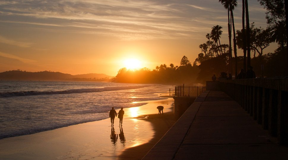 Sunset on Santa Barbara beach