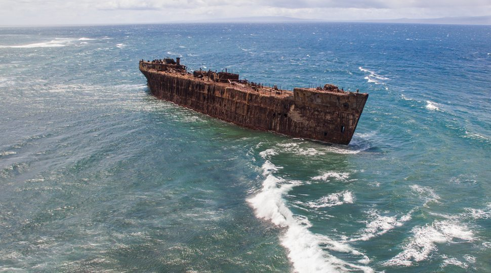 An aerial view of a shipwreck