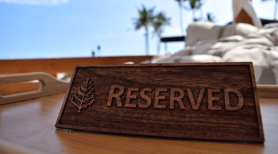 Reserved cabana at Four Seasons Hualalai