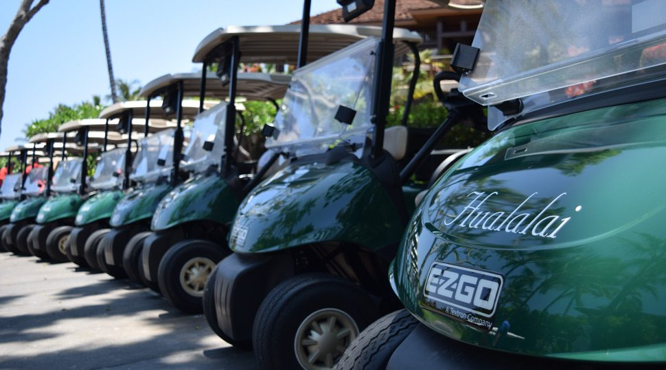 Golf carts at Four Seasons Hualalai