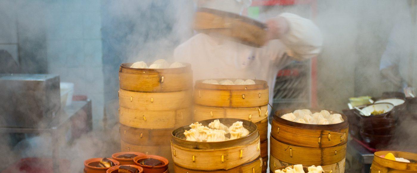 Steamed small meat dumpling in Hangzhou.