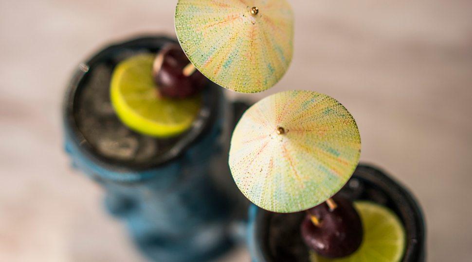 Tropical cocktails with mini umbrellas