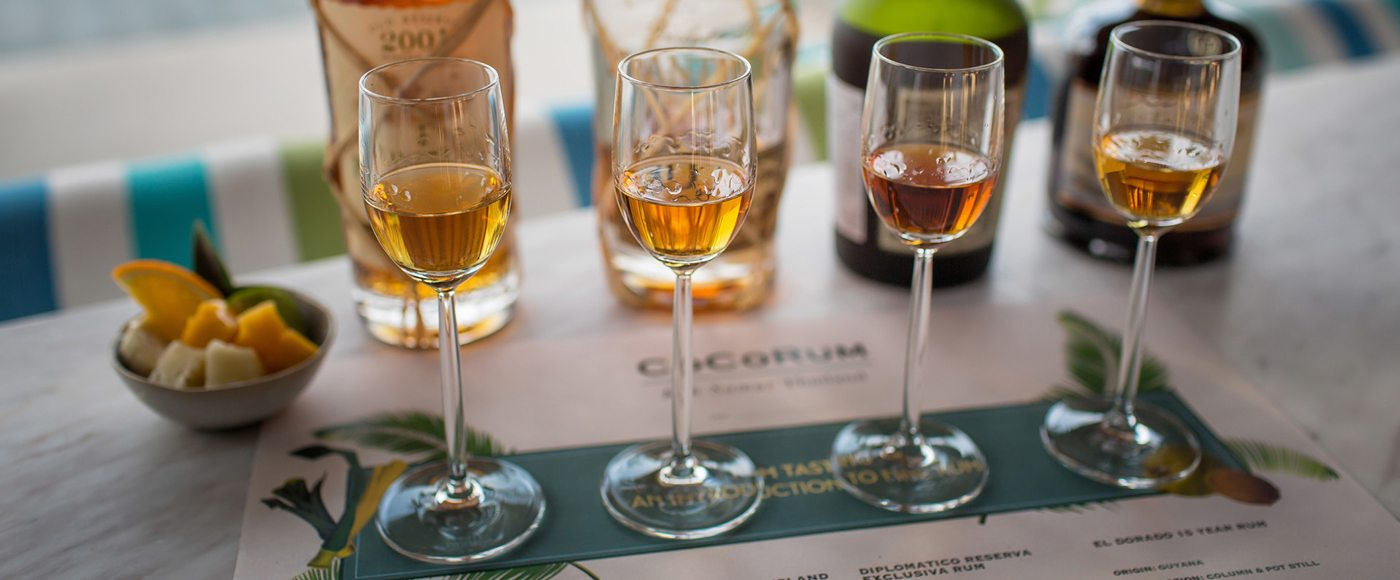 Flight of artisinal Thai rums
