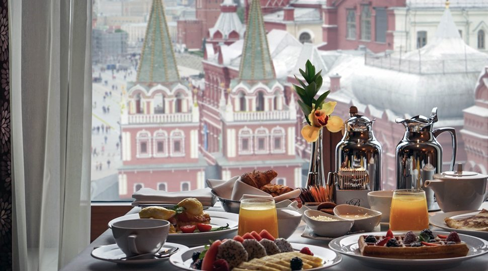 Breakfast view of the Kremlin and Red Square
