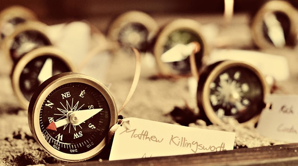 Compasses on table
