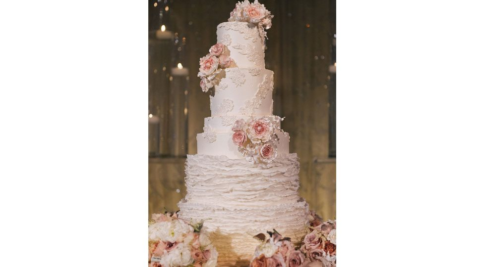 A multi-tiered cake