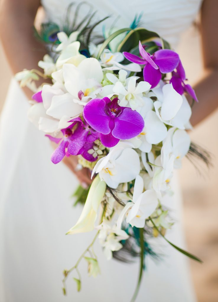 A bouquet of white and purple orchids
