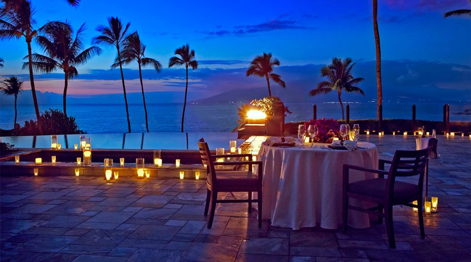 Romantic dinner by the ocean and Four Seasons Resort Maui
