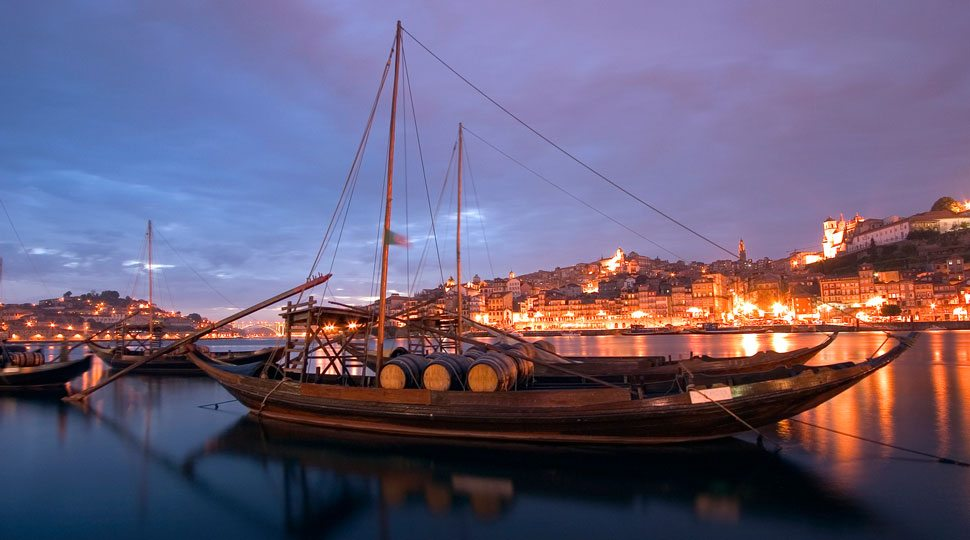 Traditional barcos rabelos ship in Oporto, Portugal