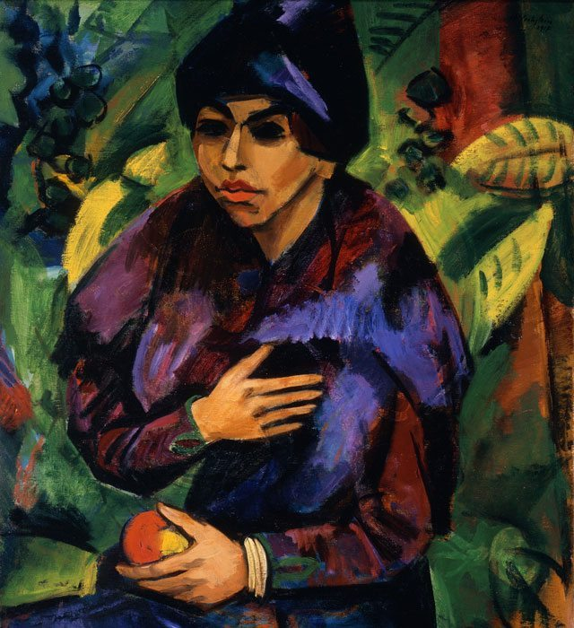 Max Pechstein's Portrait of a Girl/Still Life With Fan on display at the Los Angeles Country Museum of Art