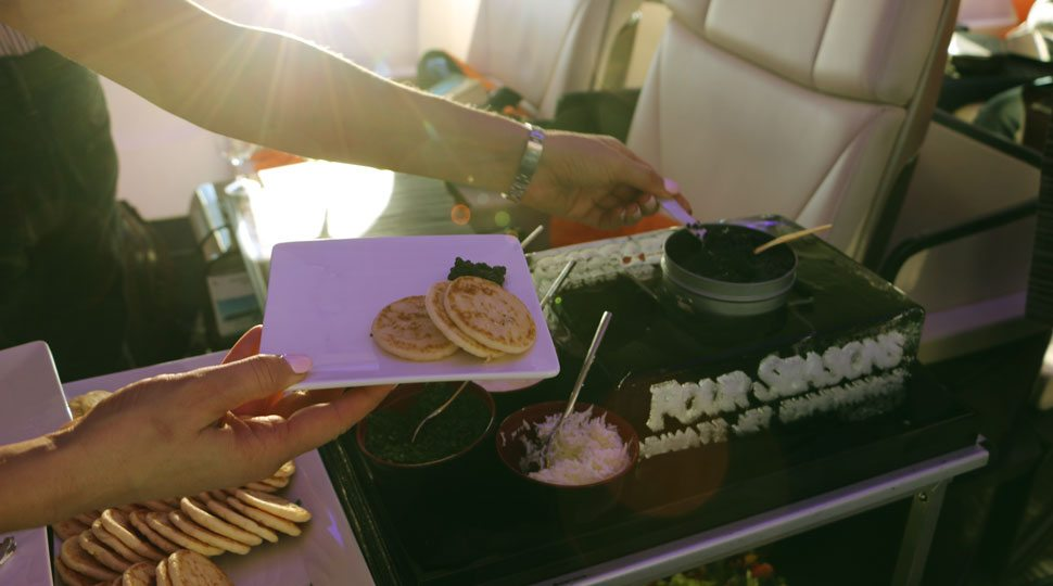 Food service on the Four Seasons Jet