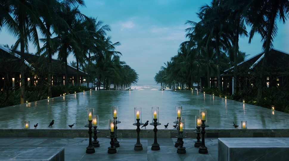 Candles by pool in Vietnam