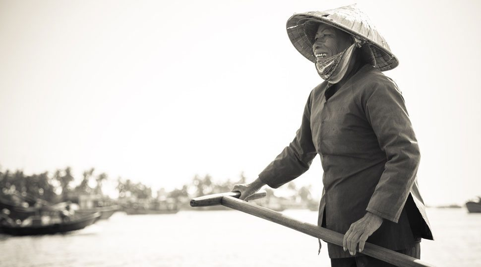 Fisherman with net in Hoi An