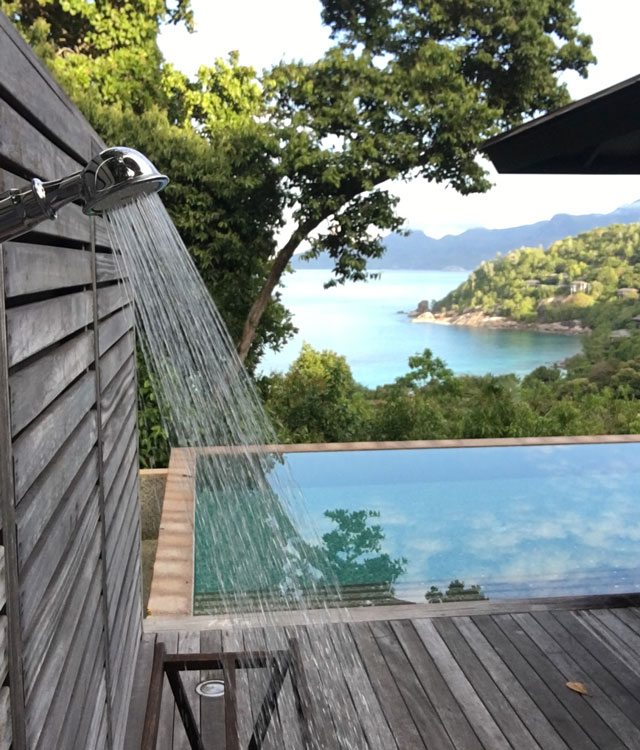 Outdoor shower at Four Seasons Seychelles