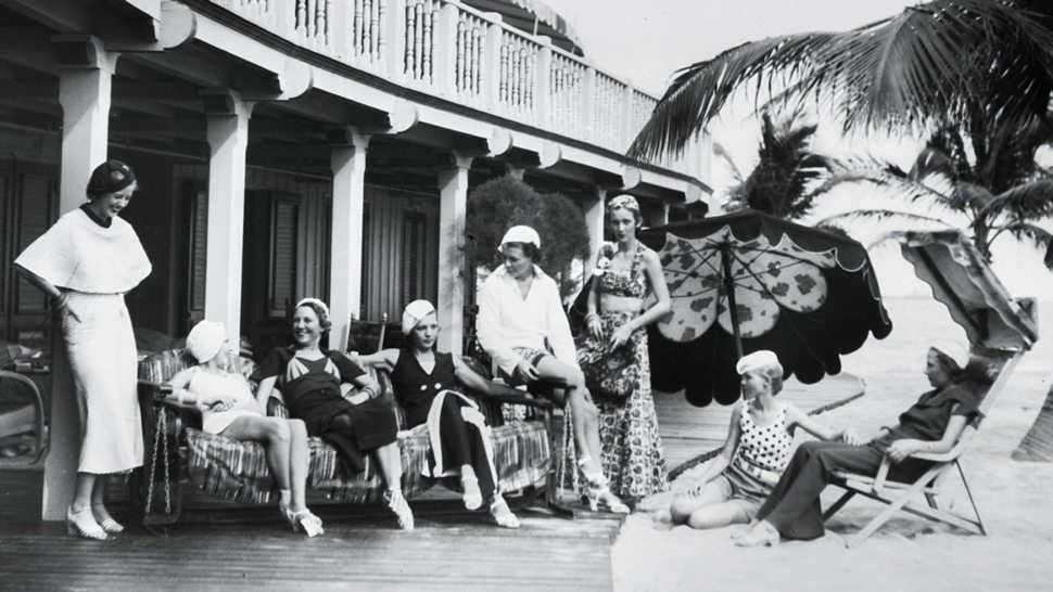 A historic photo of guests at the Surf Club Miami Beach