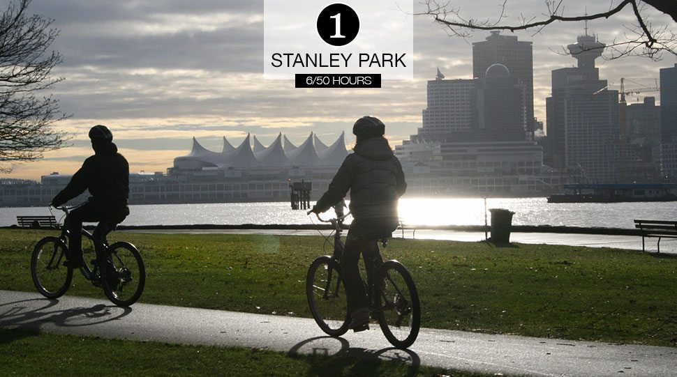 A biker pedals along the seawall of Stanely Park, Vancouver.