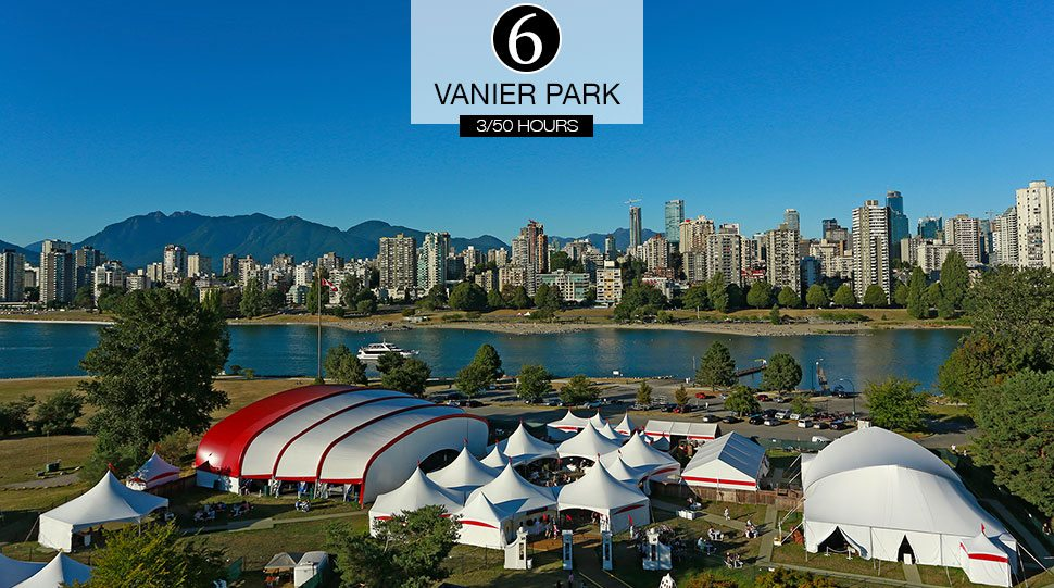 The tents of Bard on the Beach on the waterfront at Vanier Park, Vancouver.