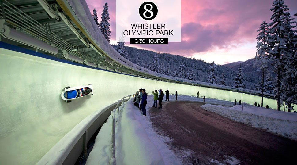 A bobsledder races down the tracks at the Whistler Sliding Centre.