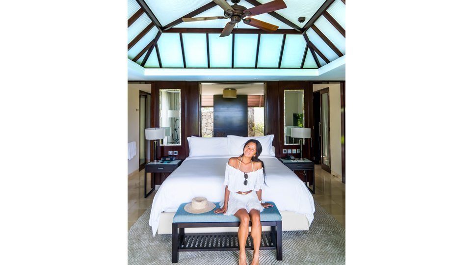 Marcy Yu in her suite at Four Seasons Resort Mauritius at Anahita.