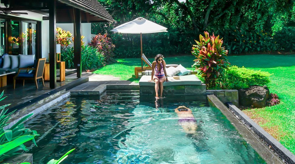 A private villa pool at the Four Seasons Mauritius.