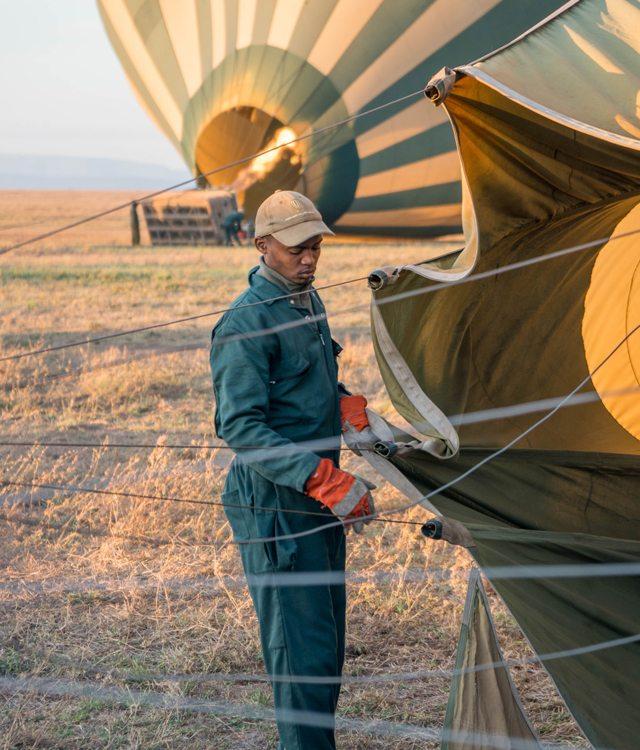A hot air ballon operator at the Four Seasons Serengeti