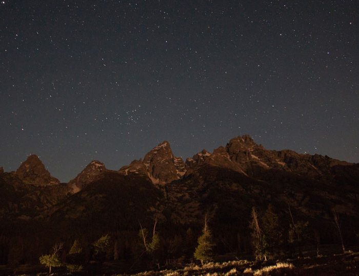 Mountain range in Jackson Hole at night