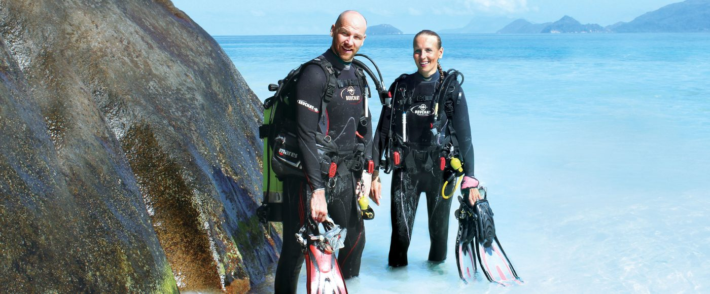 Four Seasons Resort Seychelles staffers Charles and Verena Lasvigne spend their free time seeking out dive spots around the globe.