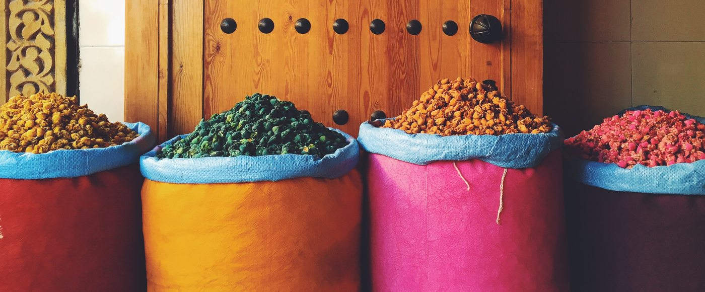 Spices in barrels