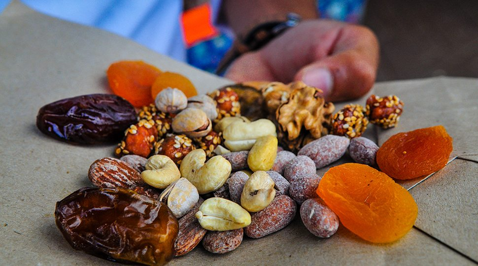 Handful of fruits and nuts