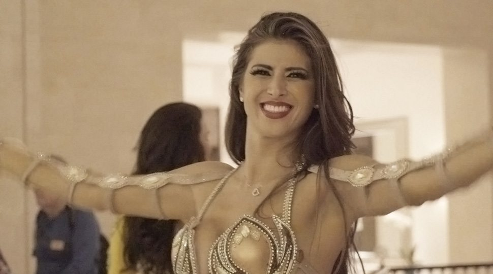 A belly dancer greets guests at Four Seasons Hotel Dubai