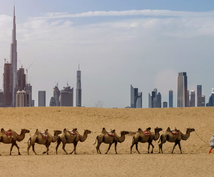 Dubai skyline from desert
