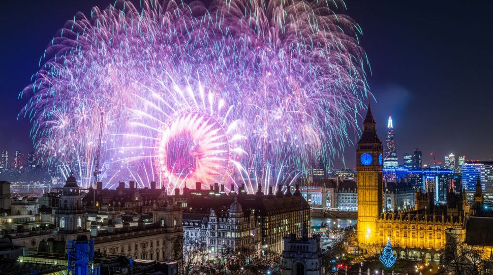 Fireworks explode in the skies of London