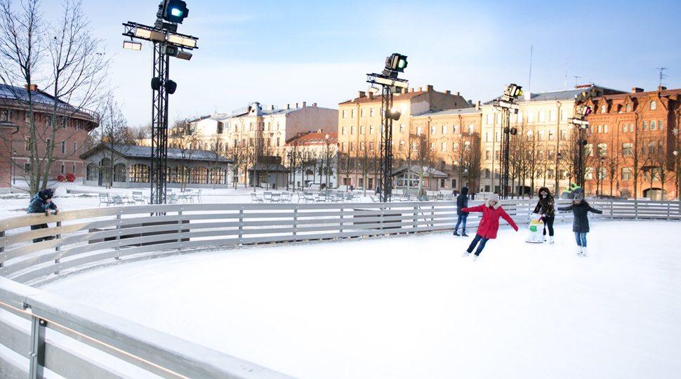 Children ice-skate in St. Petersburg
