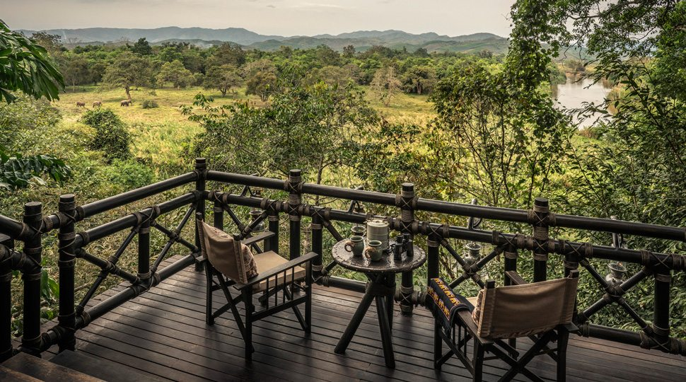A Balcony overlooking the bamboo jungle at the Four Seasons Tented Camp Golden Triangle.