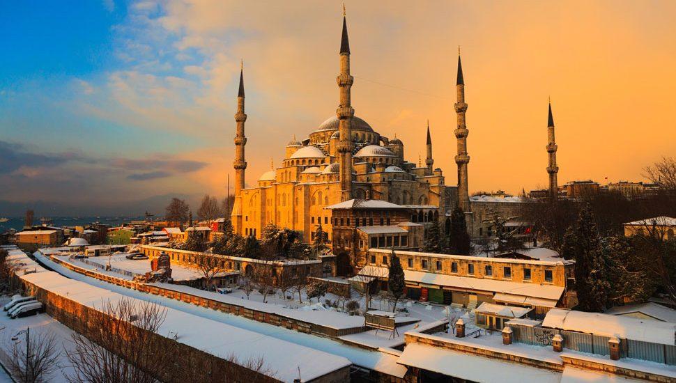 Snow on the Hagia Sophia, Turkey