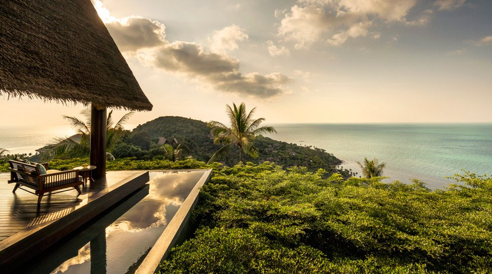 A view of the infinity pool at the Four Seasons Koh Samui