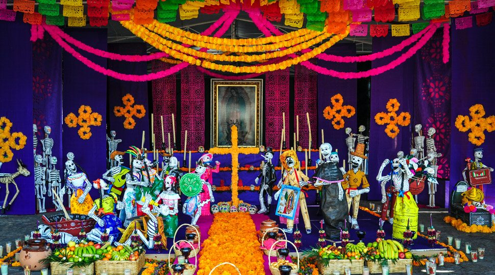 An altar in Mexico City celebrating the Day of the Dead.
