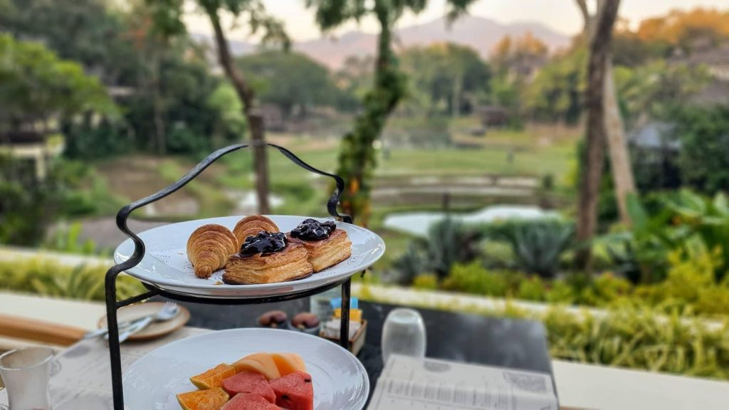 Breakfast pastries and fruit
