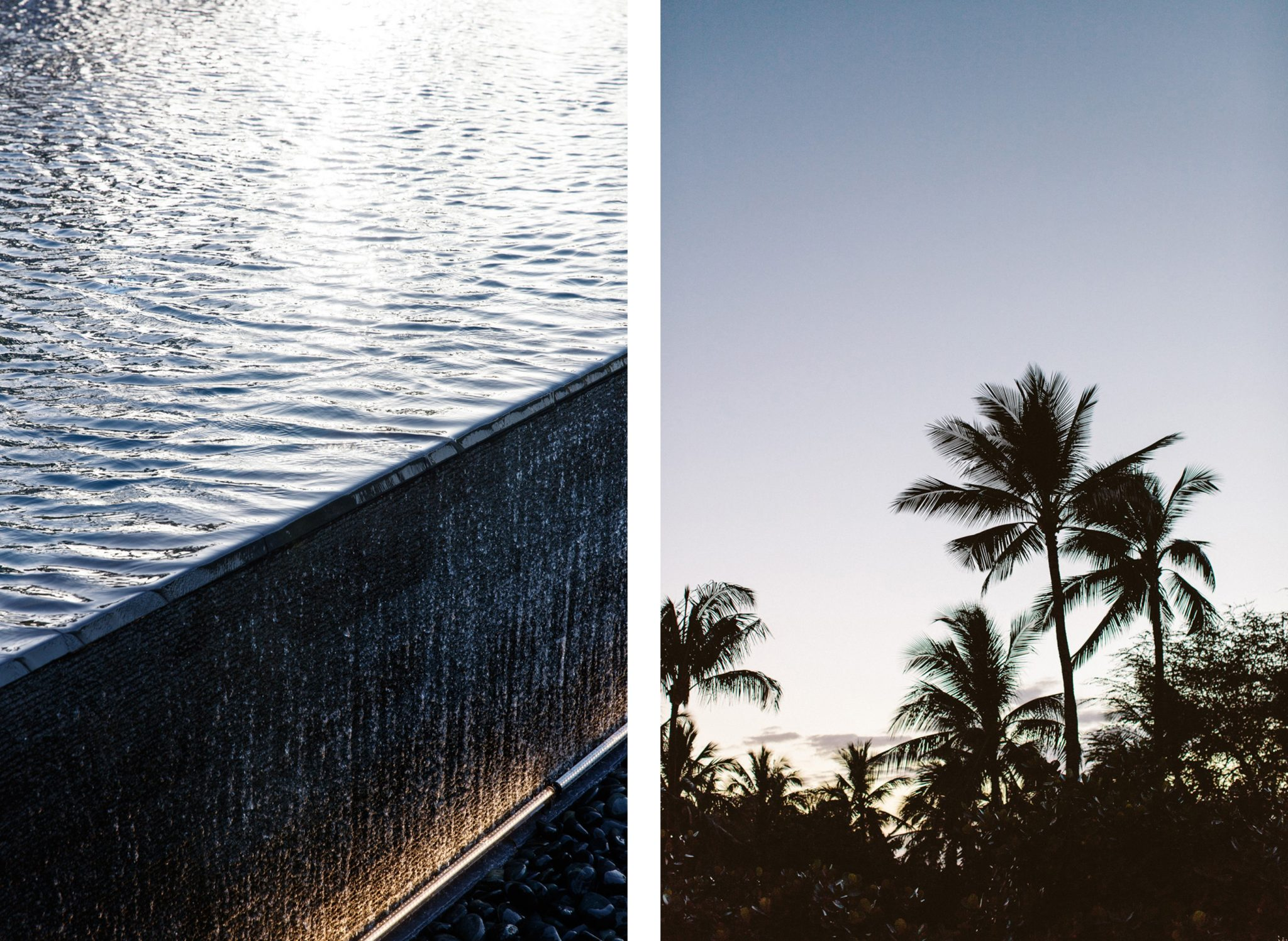 Oahu infinity pool, palm trees evening comparison