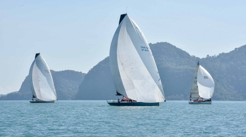 Boats during a race at the Royal Langkawi International Regatta