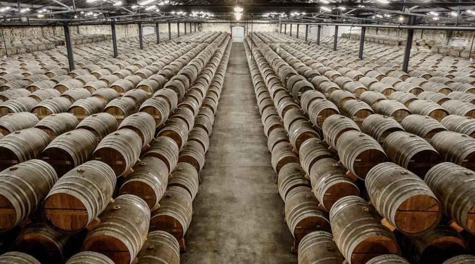 Cognac aging in oak casks