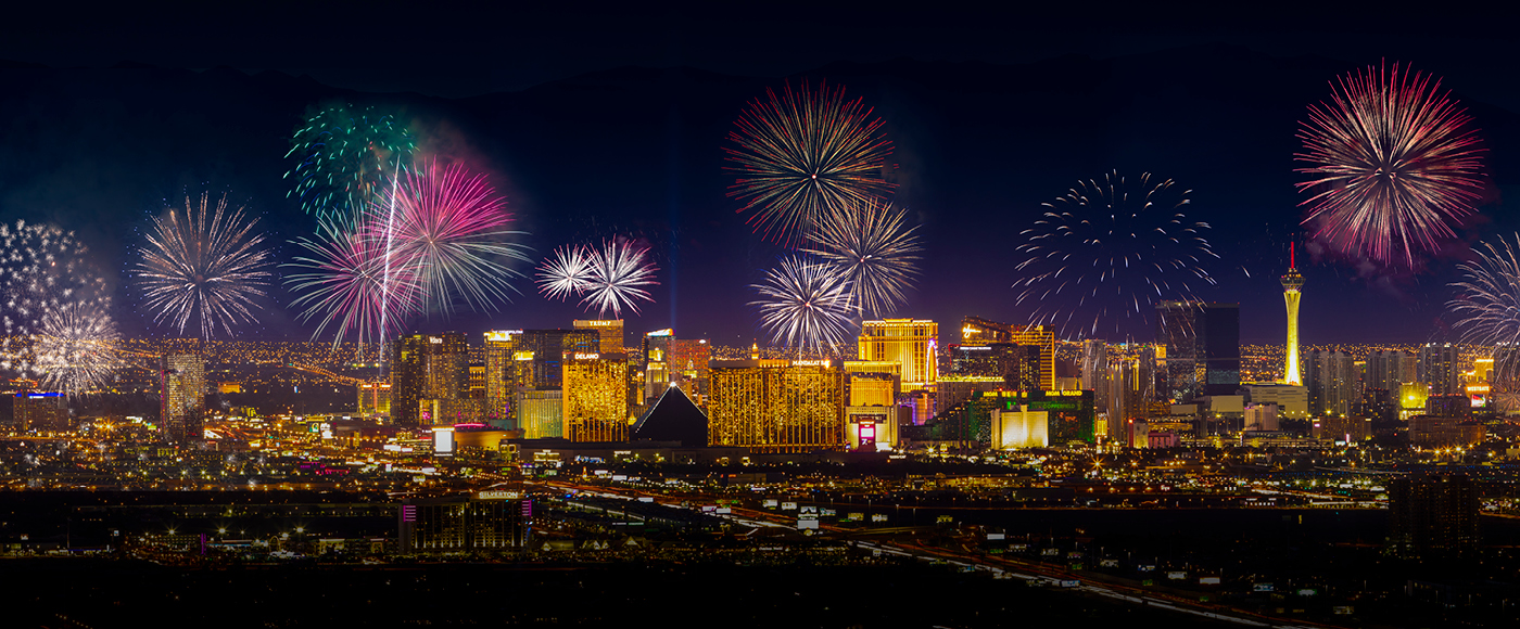 Fireworks show over the Las Vegas strip