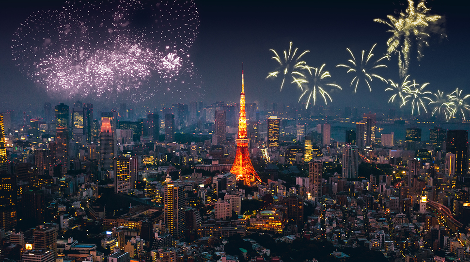 Fireworks over the Tokyo cityscape