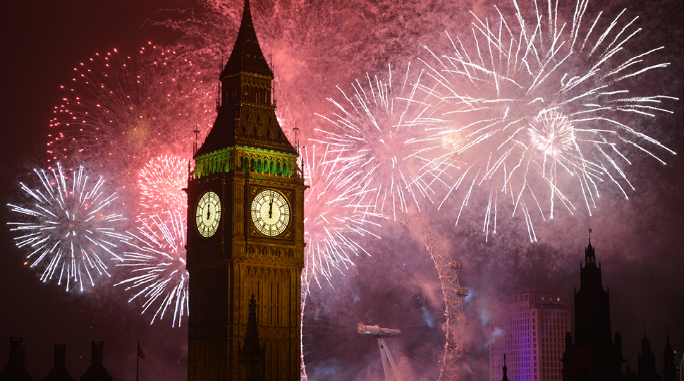 Big Ben with fireworks