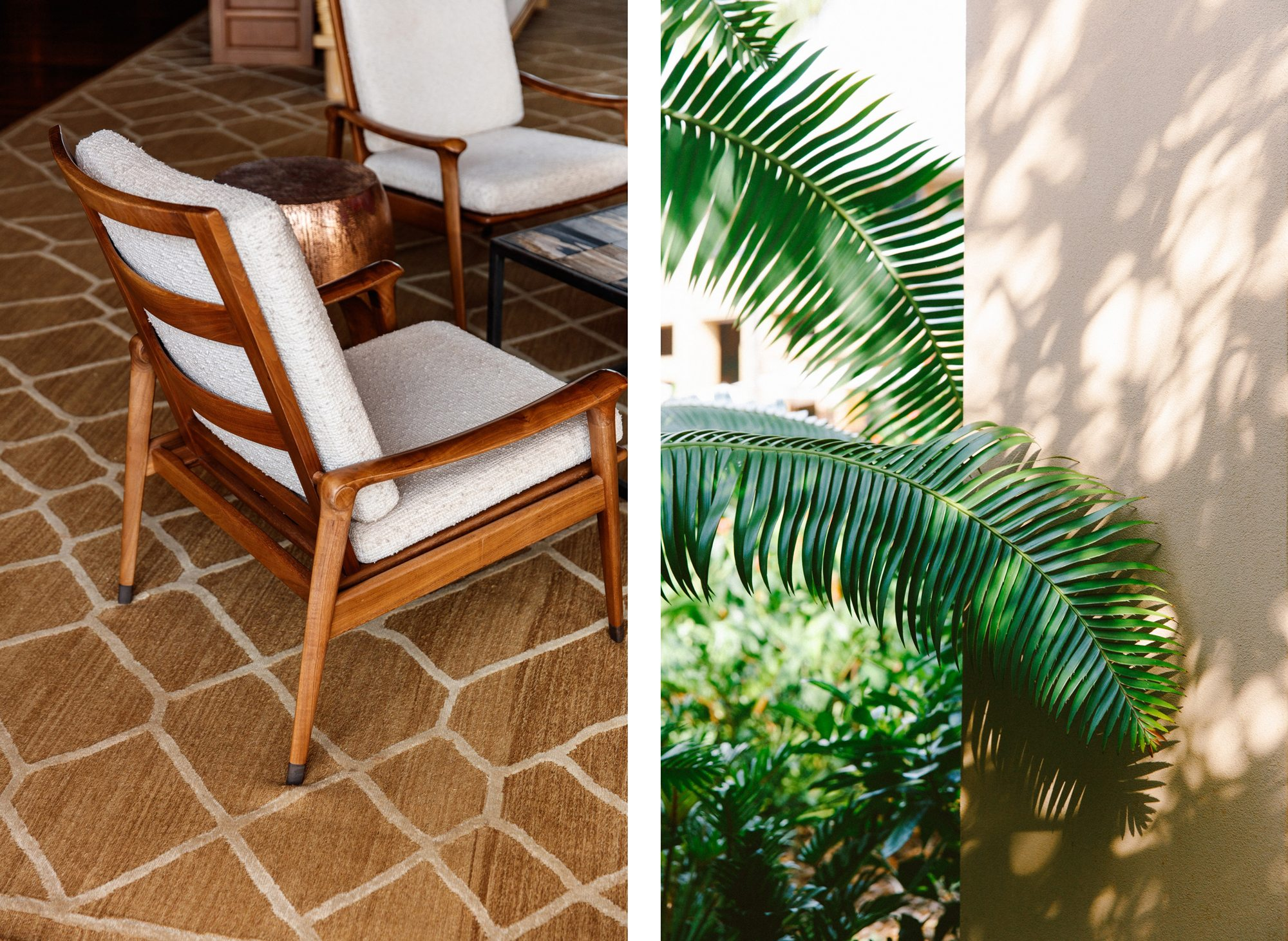lanai white outdoor chair, palm frond comparison