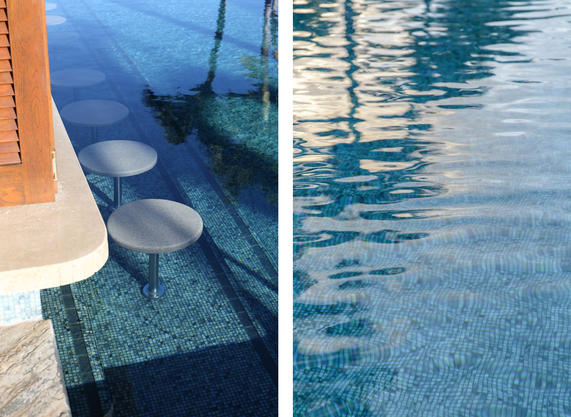 Maui beach bar stools, pool surface comparison