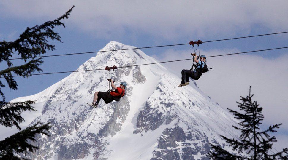 Zip-lining in Whistler